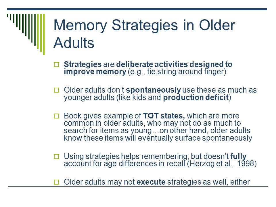 memory improvement strategies Learn about a 3-office-visit approach to helping people concerned about memory problems.