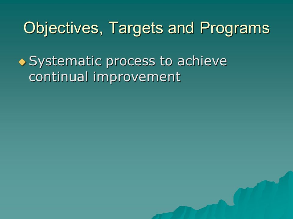 Objectives, Targets and Programs