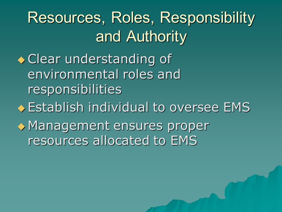 Resources, Roles, Responsibility and Authority