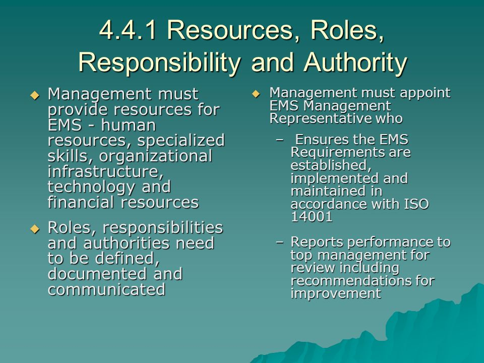 4.4.1 Resources, Roles, Responsibility and Authority