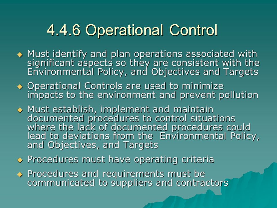 4.4.6 Operational Control