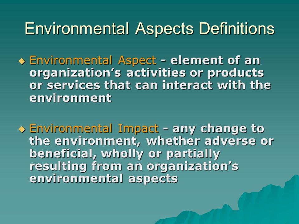 Environmental Aspects Definitions