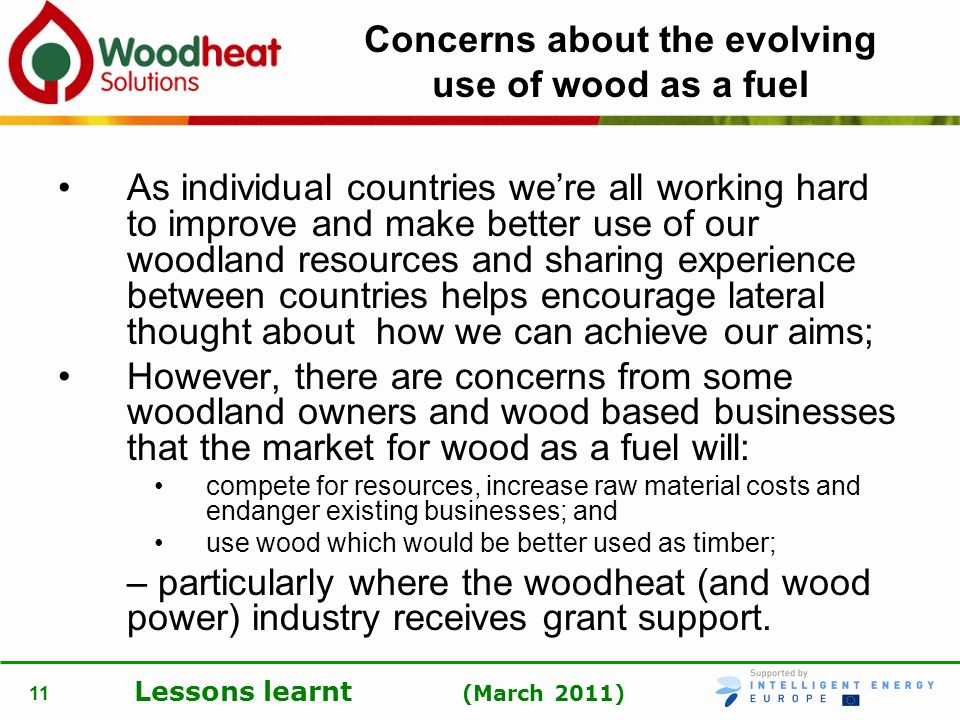 Concerns about the evolving use of wood as a fuel