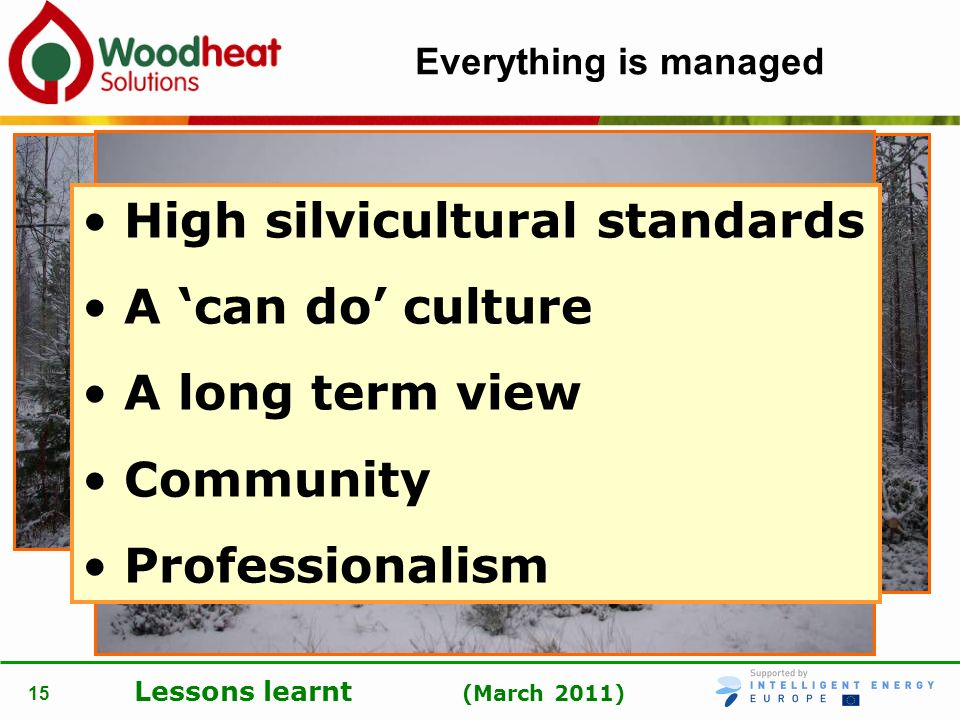 High silvicultural standards A 'can do' culture A long term view