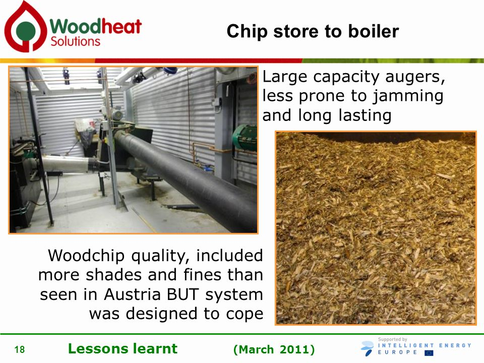 Chip store to boiler Large capacity augers, less prone to jamming and long lasting.