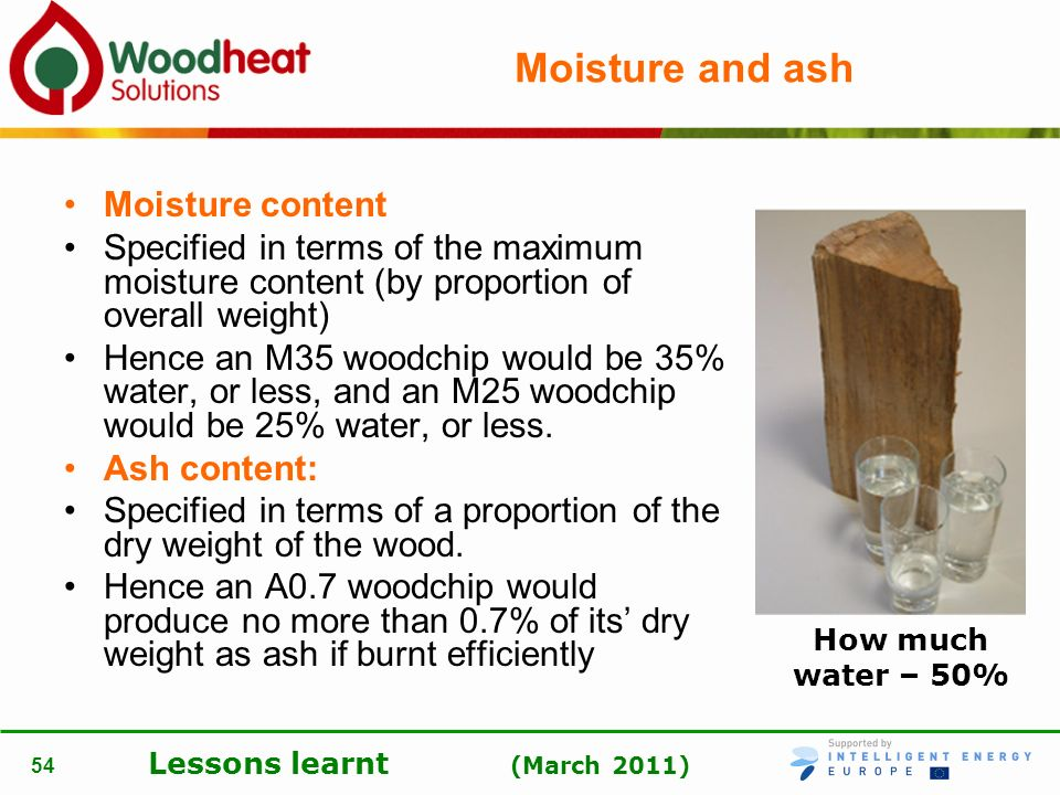 Moisture and ash Moisture content