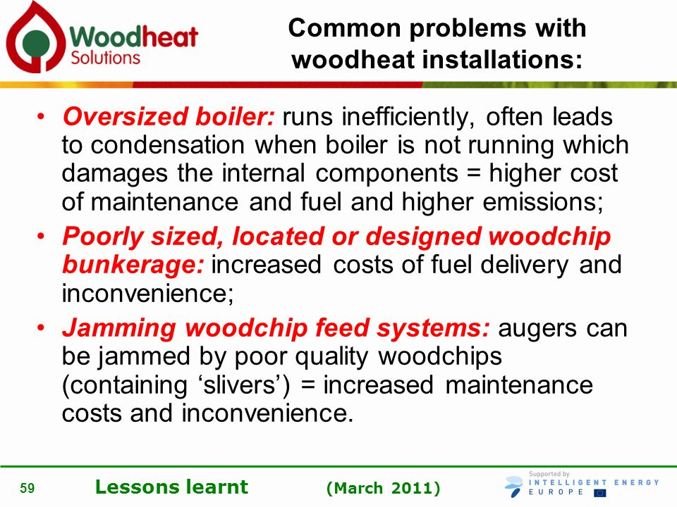 Common problems with woodheat installations: