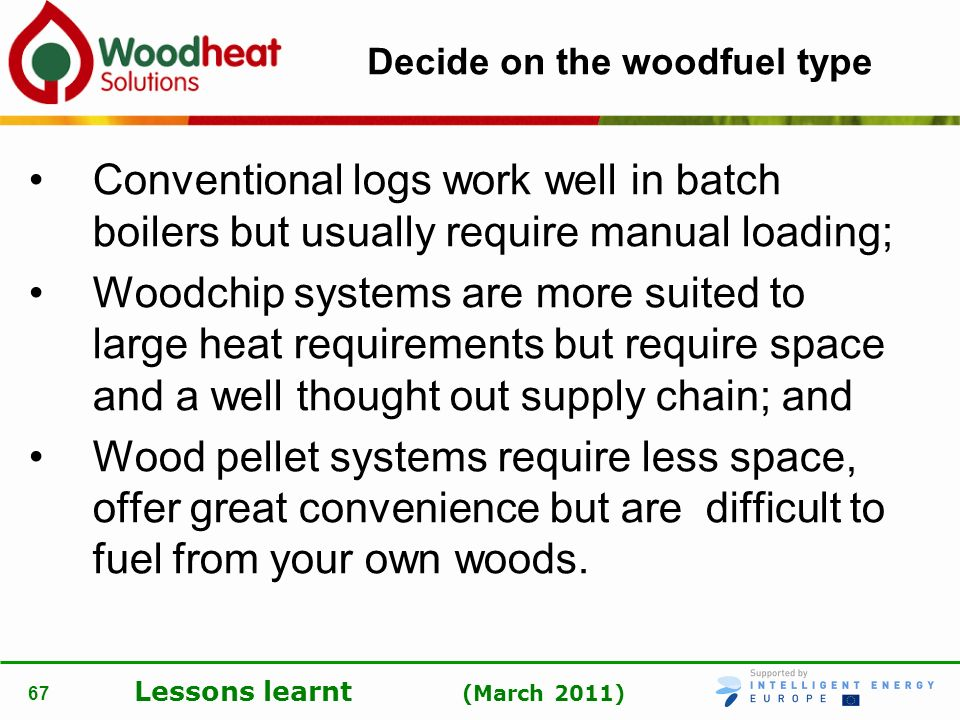 Decide on the woodfuel type