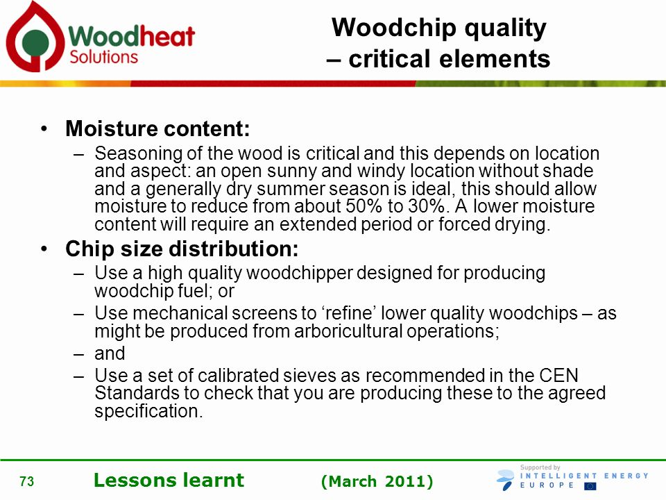 Woodchip quality – critical elements