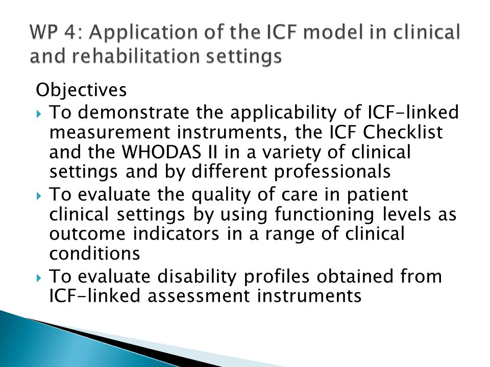 WP 4: Application of the ICF model in clinical and rehabilitation settings