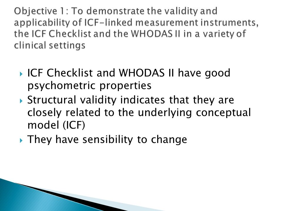 ICF Checklist and WHODAS II have good psychometric properties