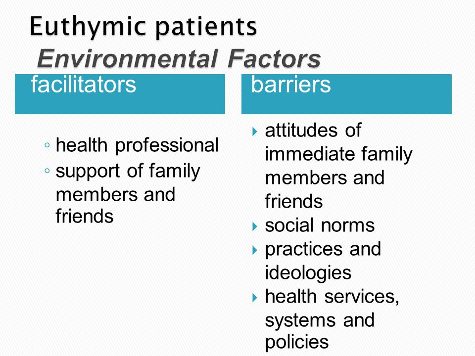 Euthymic patients Environmental Factors