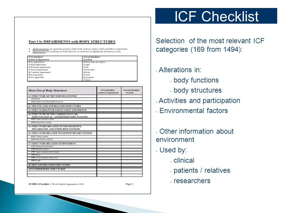 ICF Checklist Selection of the most relevant ICF categories (169 from 1494): Alterations in: body functions.