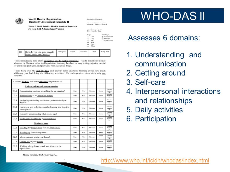 WHO-DAS II Assesses 6 domains: Understanding and communication