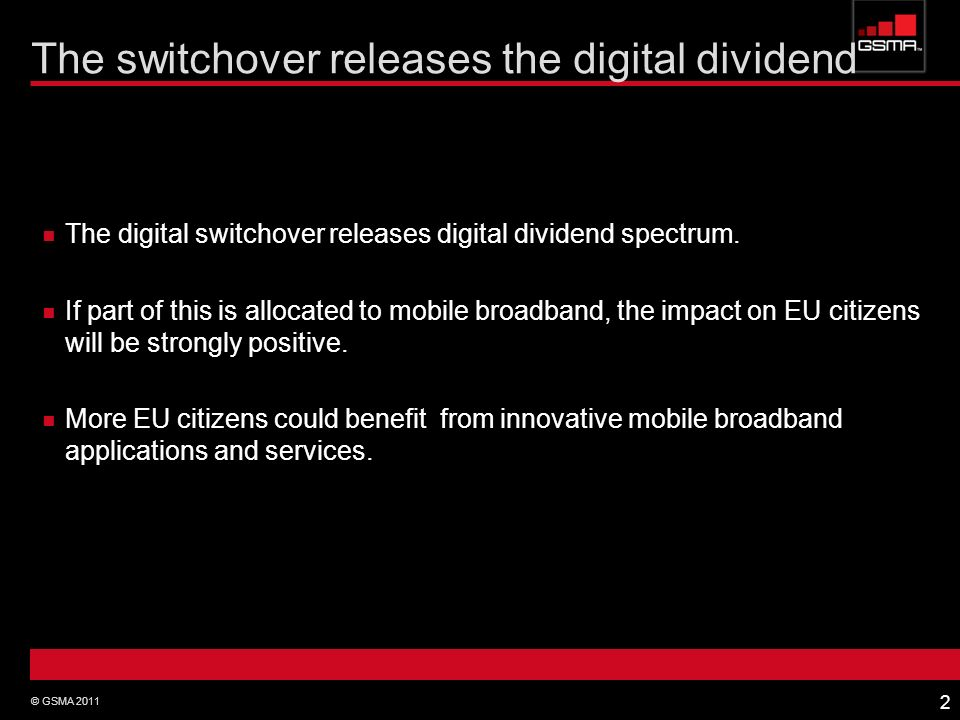 The switchover releases the digital dividend