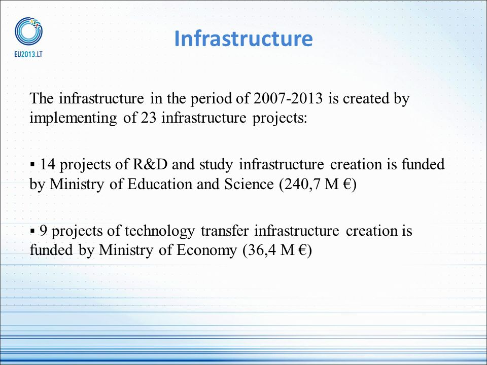 Infrastructure The infrastructure in the period of 2007-2013 is created by implementing of 23 infrastructure projects: