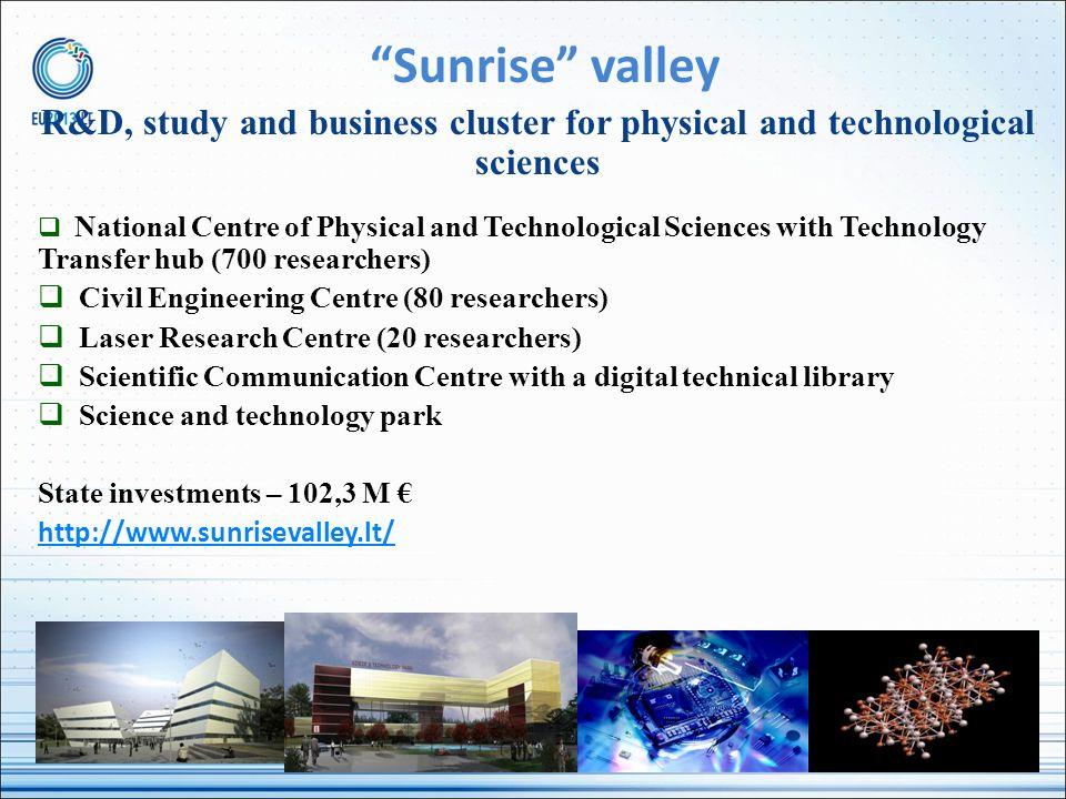 Sunrise valley R&D, study and business cluster for physical and technological sciences.