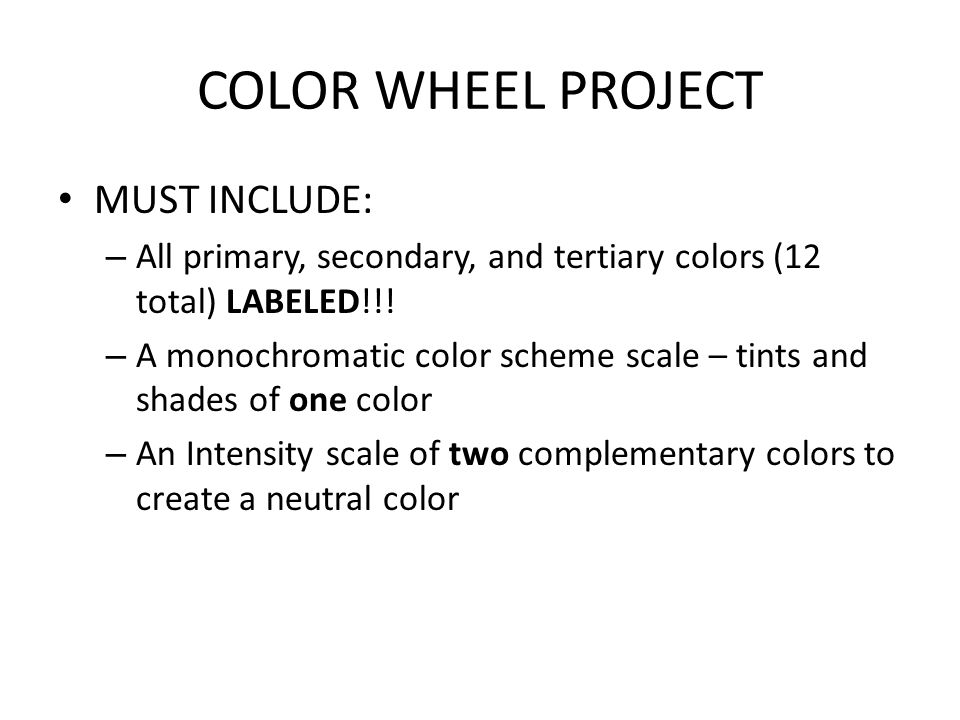 14 COLOR WHEEL PROJECT