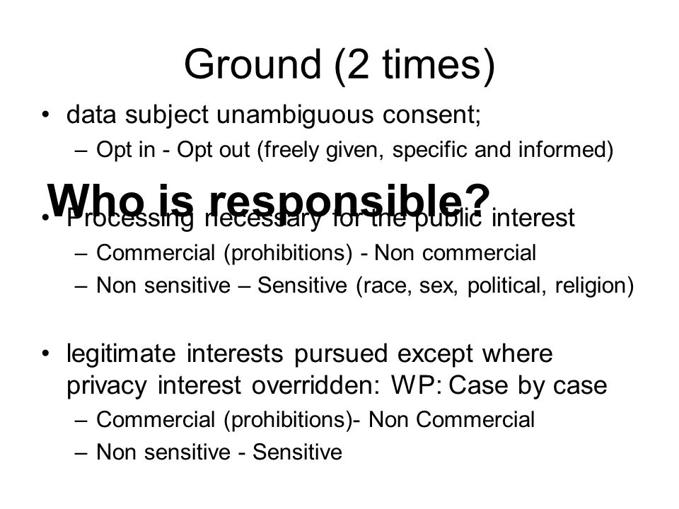 Who is responsible Ground (2 times) data subject unambiguous consent;
