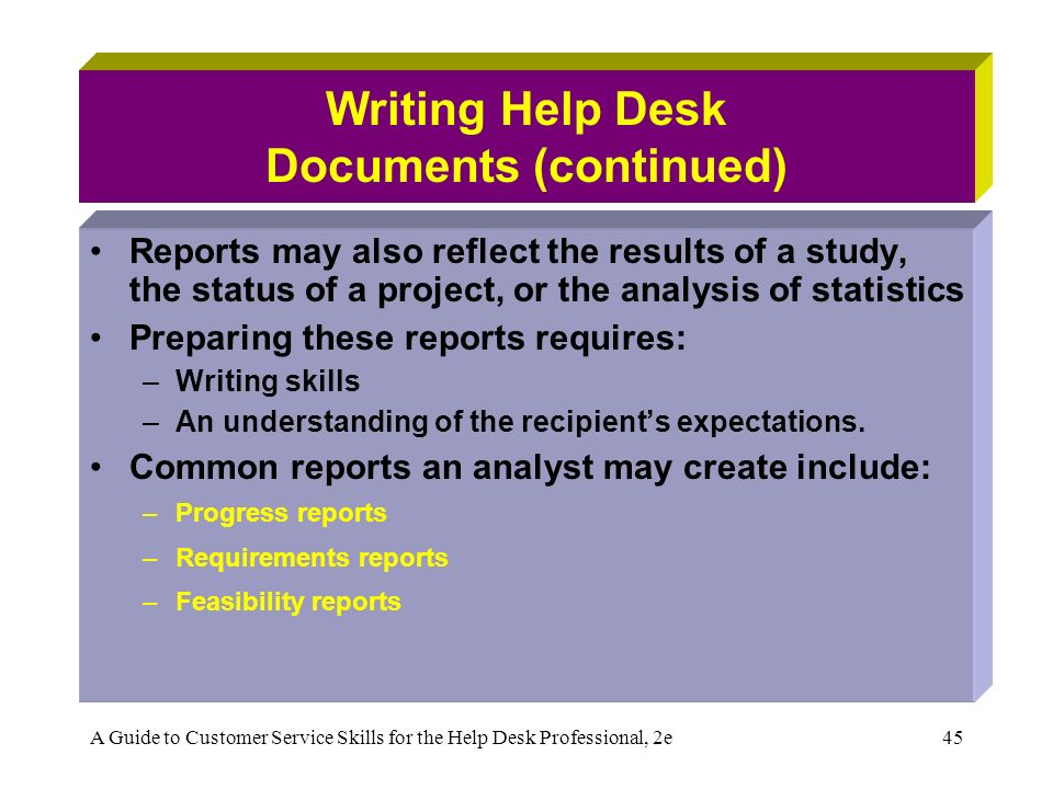 Progress Reports: Features of Writing