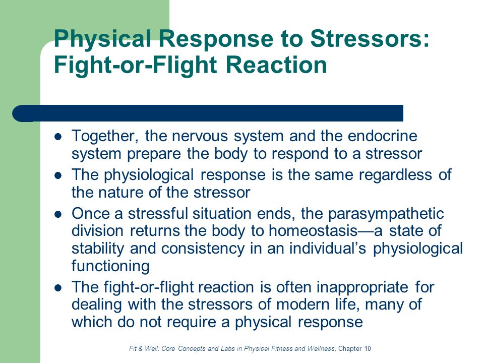 Fight or flight and homeostasis