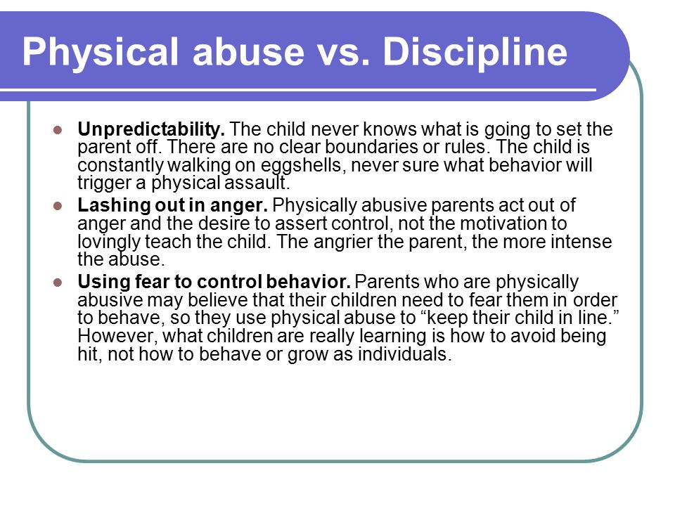 abuse vs discipline I've been called a softy in the discipline realm quite a few times, but it still continually surprises me how one parent can define discipline vs another's abuse and vice versa.