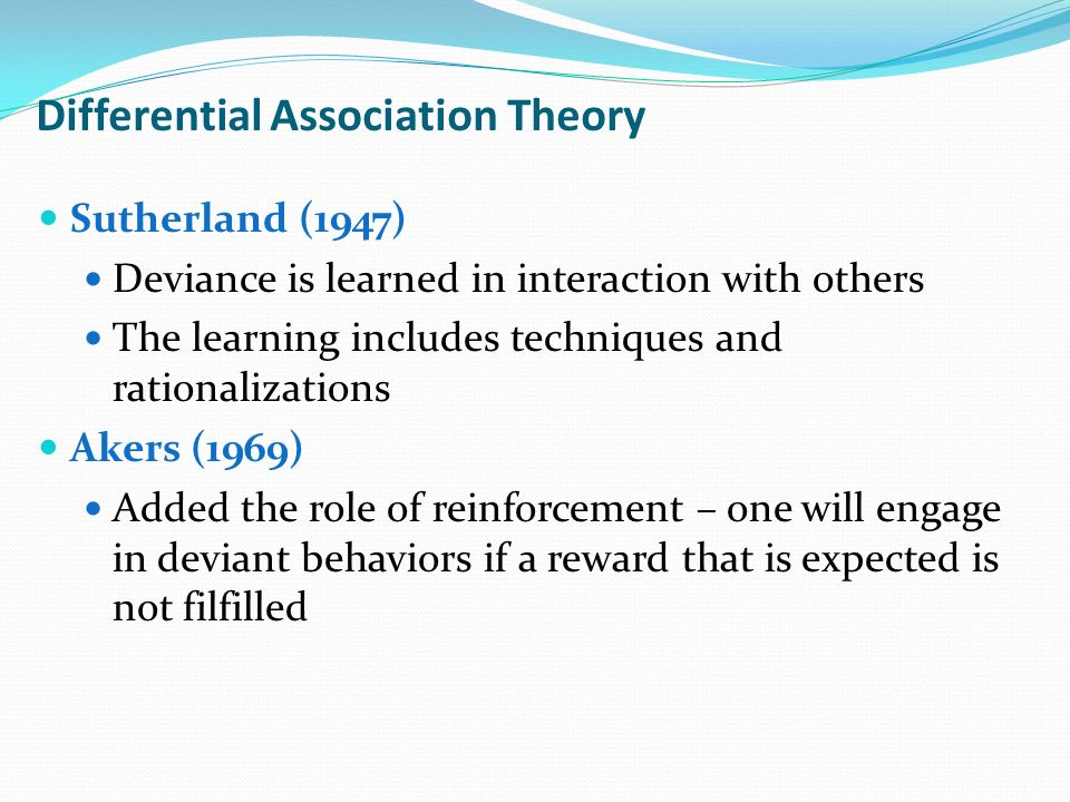 theory of differential association essay 16 theory of differential association essay examples from #1 writing company eliteessaywriters get more argumentative, persuasive theory of differential association essay samples and other research papers after sing up.