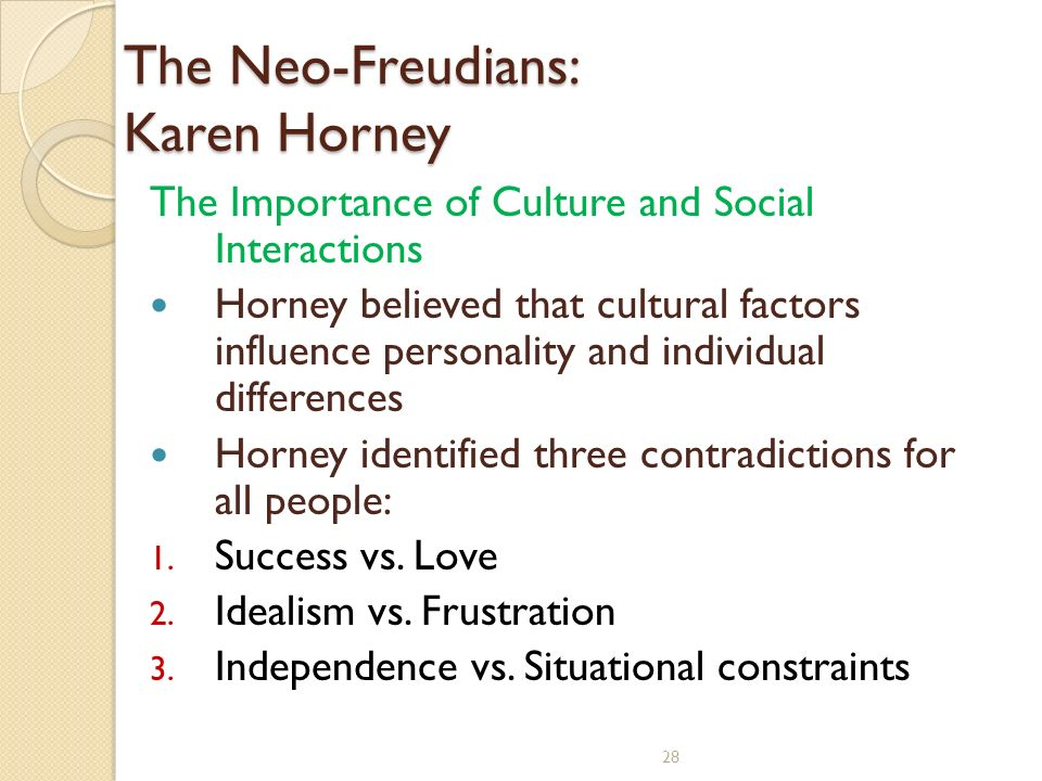 karen horney three personality types Start studying personality theory - horney and murray learn vocabulary, terms, and more with flashcards, games,  karen horney three broad personality types.