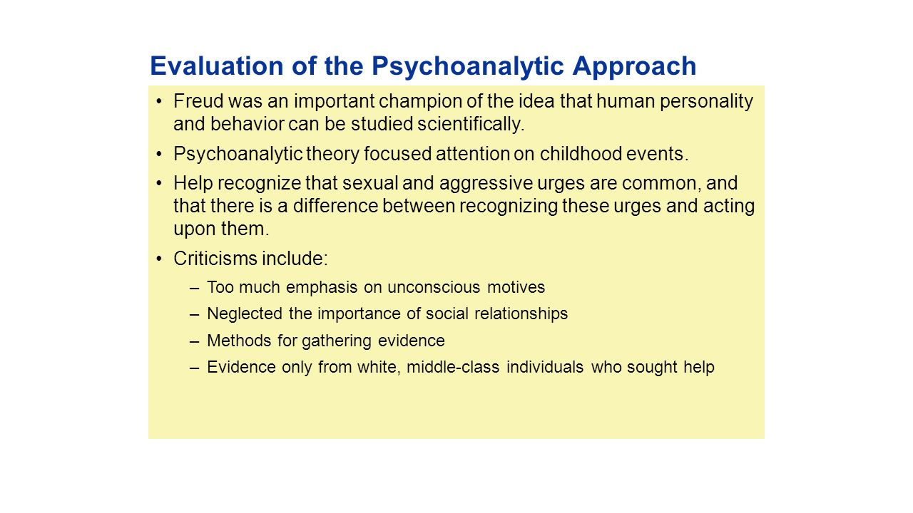 a description and evaluation of psychoanalytical approach The behavioral approach explained: introduction to the branches of behaviorism in psychology, assumptions of the approach and an evaluation.