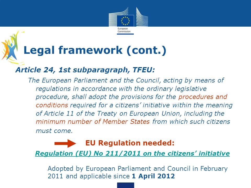 Legal framework (cont.)