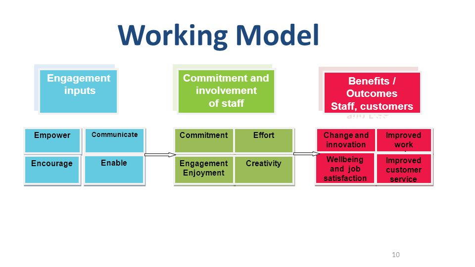 Working Model Engagement inputs Commitment and involvement of staff