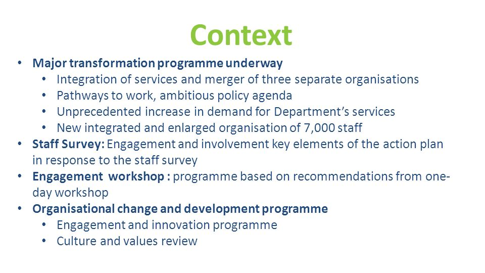 Context Major transformation programme underway