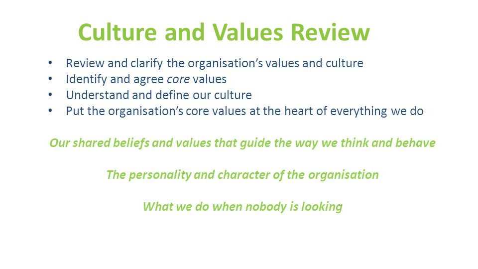 Culture and Values Review