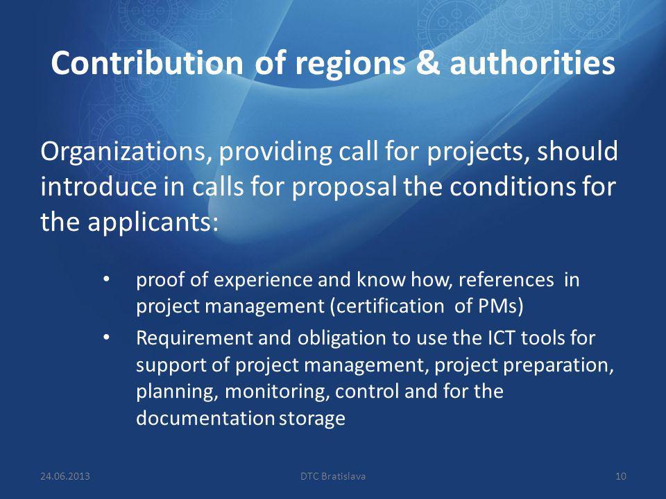 Contribution of regions & authorities