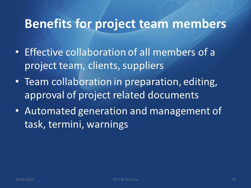 Benefits for project team members