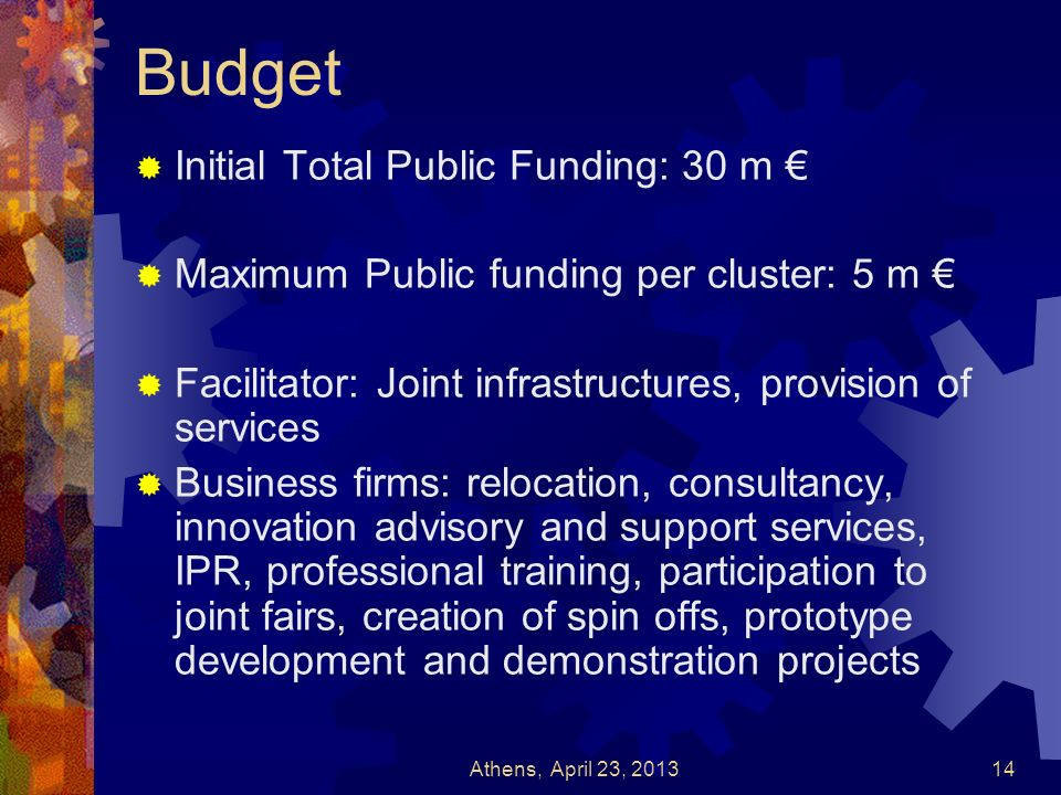 Budget Initial Total Public Funding: 30 m €