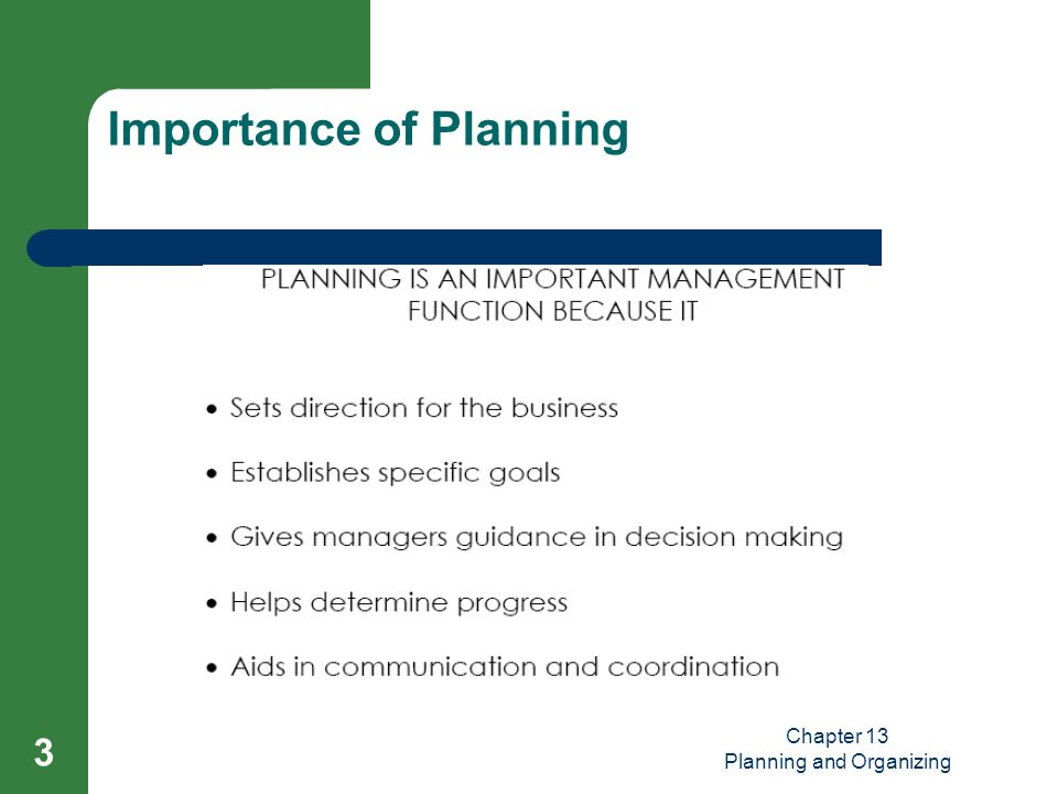 importance of planning Annales universitatis apulensis series oeconomica, 11(2), 2009 953 the role of strategic planning in modern organizations marilen pirtea 1 cristina nicolescu 2 claudiu botoc3.