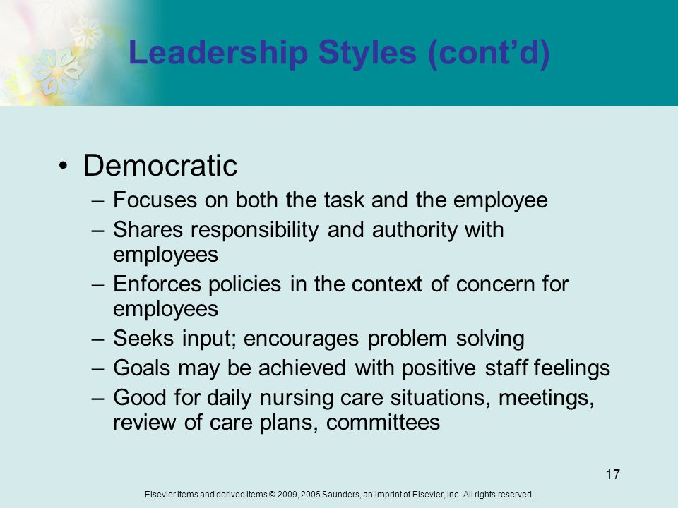 democratic leadership style in nursing Understanding democratic leadership: some key  democratic leadership style can bring the best out of an experienced and professional team it capitalizes on their .