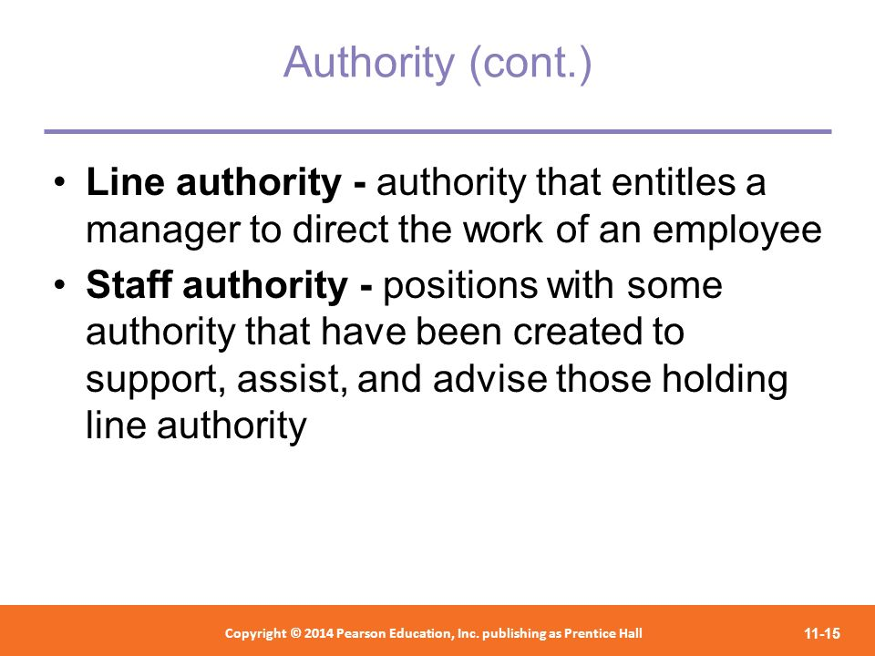 Authority (cont.) Line authority - authority that entitles a manager to direct the work of an employee.