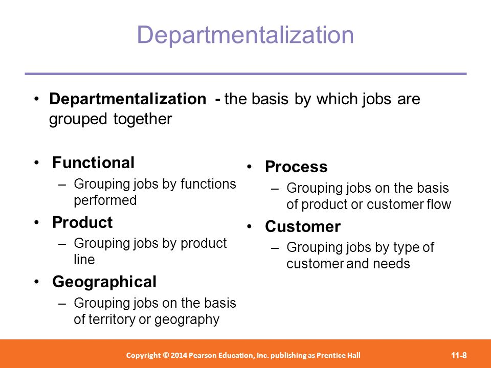 Departmentalization Departmentalization - the basis by which jobs are grouped together. Functional.