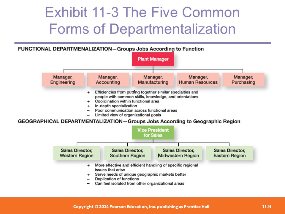Exhibit 11-3 The Five Common Forms of Departmentalization