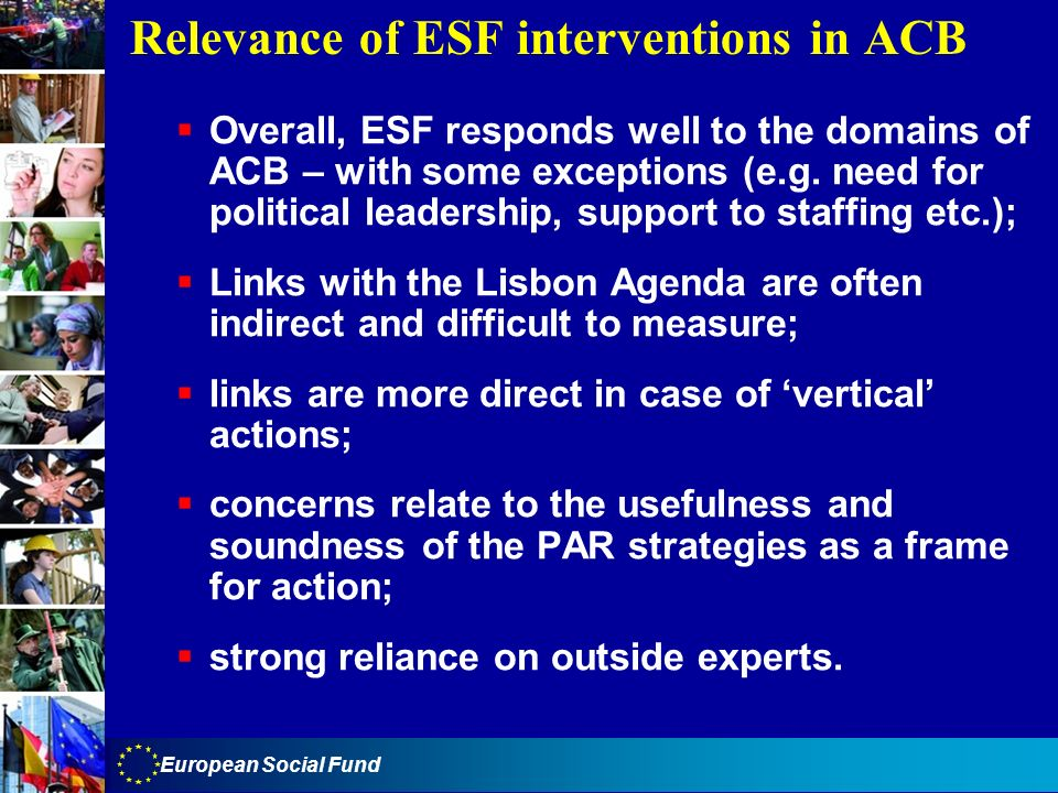 Relevance of ESF interventions in ACB