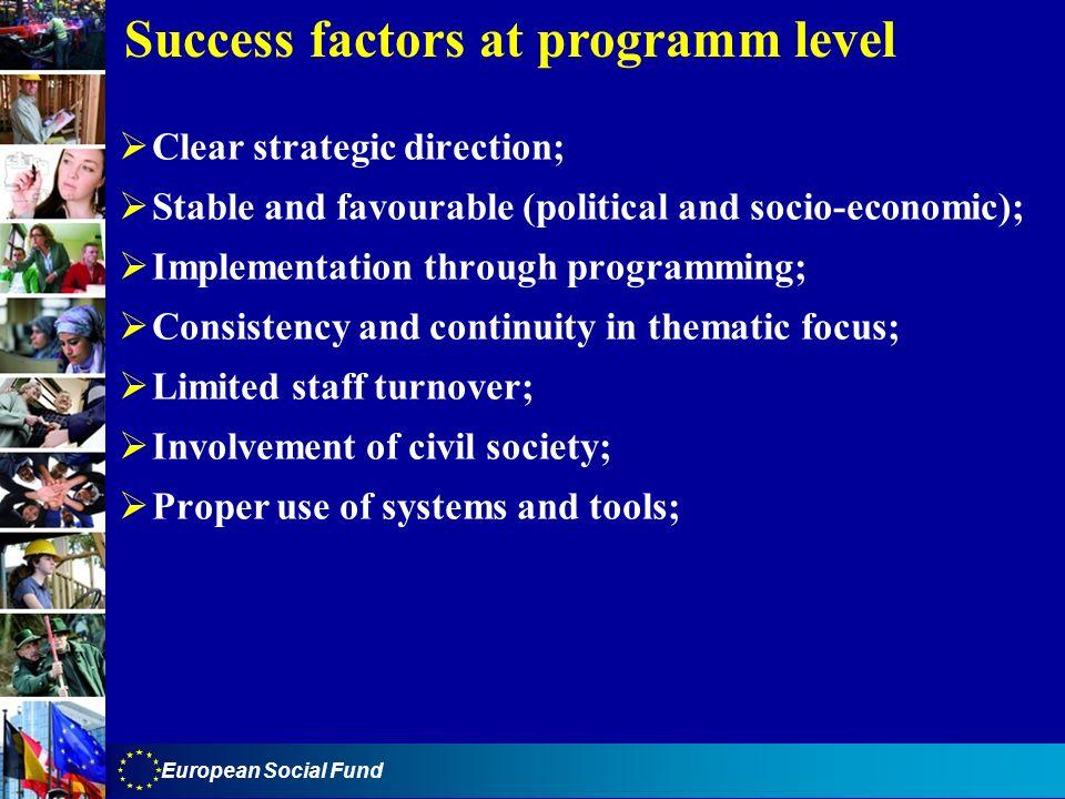 Success factors at programm level