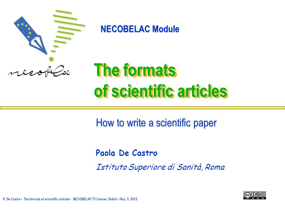 The formats of scientific articles