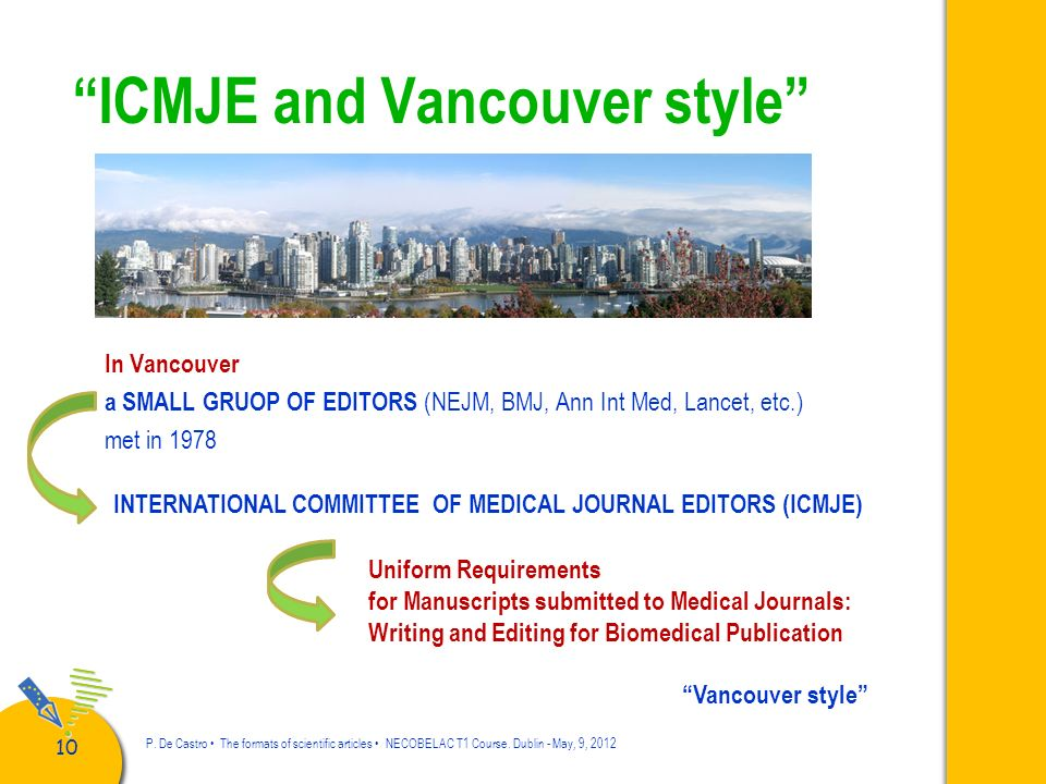 ICMJE and Vancouver style