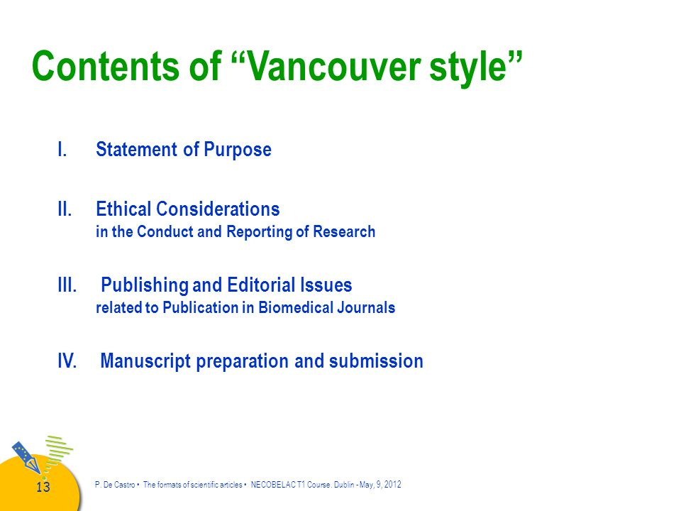 Contents of Vancouver style