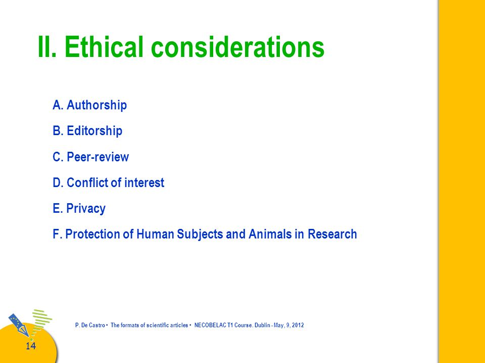 II. Ethical considerations