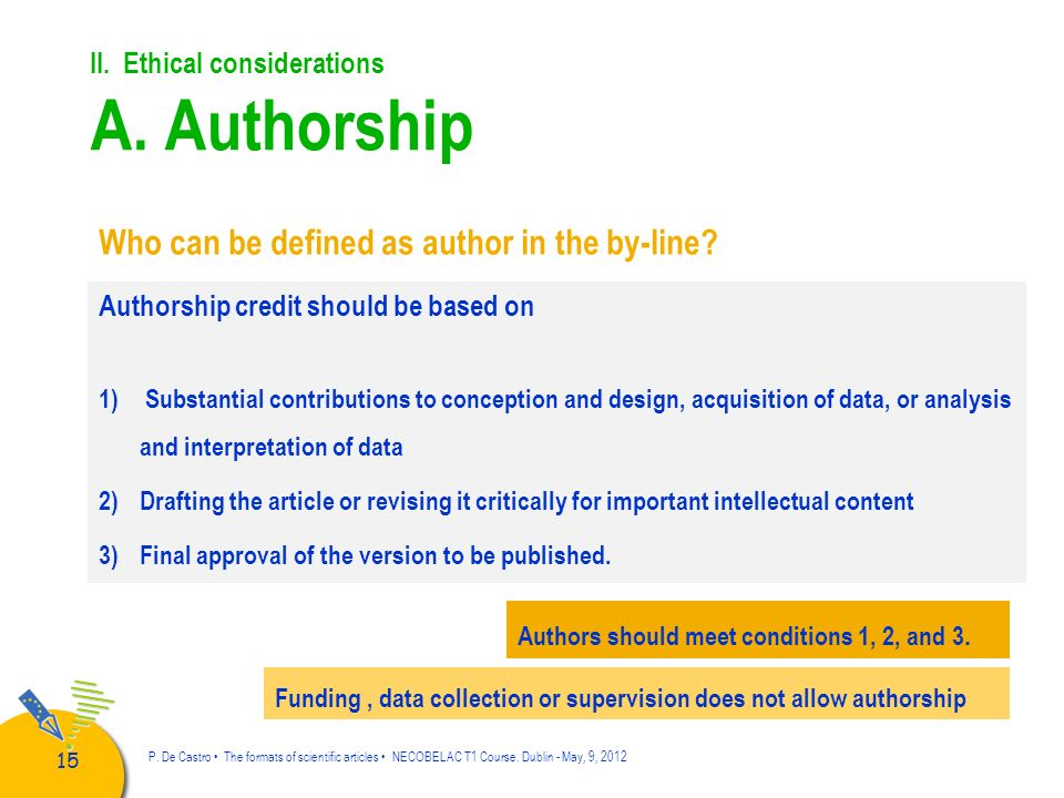 II. Ethical considerations A. Authorship
