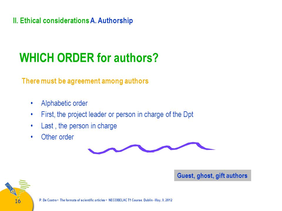 WHICH ORDER for authors