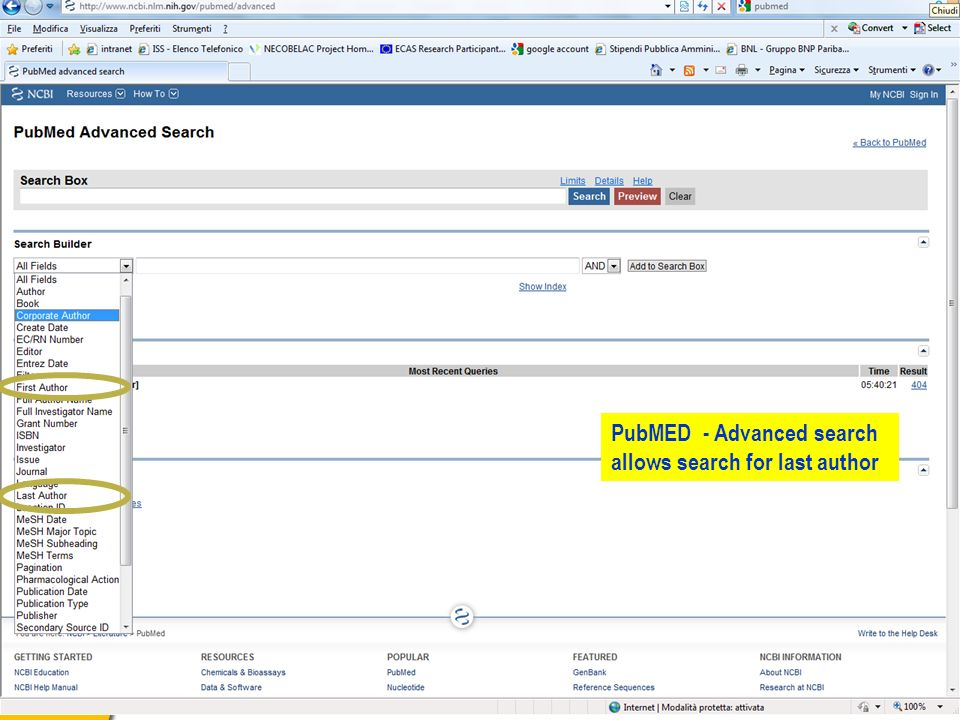 PubMED - Advanced search